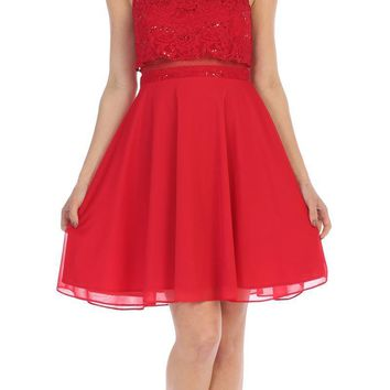 Beaded Neckline Halter Short Party Dress Red