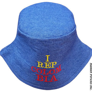 Blue Denim Unisex Bucket Hat | I Rep Colombia Embroidered Hat | Colombia | Colombian | Yellow Blue Red Hat | Sky Blue Denim Hat by Hamlet P.