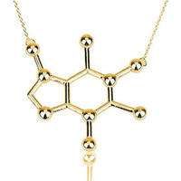 2016 New Simple Caffeine Molecule Necklace Structure Chemistry Women and Men Necklace Small Pendant Long Chain Necklace N137