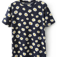 ROMWE Daisy Print Short Sleeves Dark-blue T-shirt