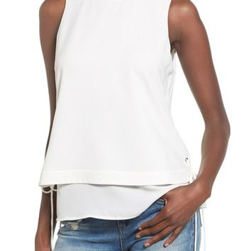 J.O.A. Side Lace-Up Layered Tank | Nordstrom