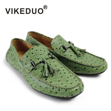 VIKEDUO Brand Handmade Tassel Flat Driving Boy Male Man's Boat Shoes Full Grain Leather Hand Painted Personal Spot Footwear 2017