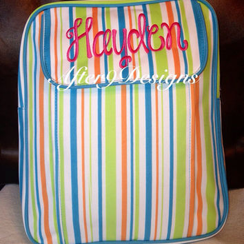 Personalized monogram BackPack Bookbag for boys and girls