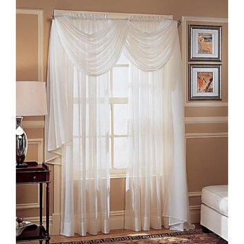 """Colormate Crinkle Voile Window Panel 51""""X216"""" Antique"""