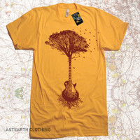 SALE Guitar Tree T-Shirt Gifts For Music Man - American Apparel Tshirt - Guitar Gifts For Him Birds Flying Tree Roots Tshirt Womens Tshirts