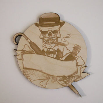 Skull Dandy, Laser Cut Wood Shape, Ready to Paint Woodcraft, Personalized Wood Ornament, Dia de los Muertos, Calavera, Day of the Dead
