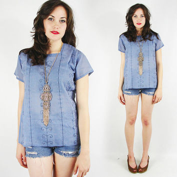 vtg 90s 70s boho hippie blue ETHNIC INDIA EMBROIDERED festival tunic shirt blouse top S M