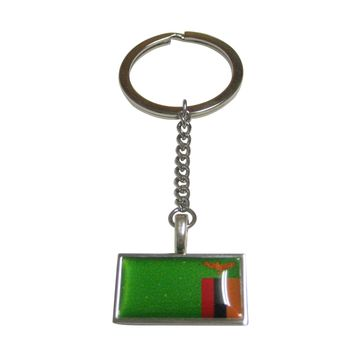 Thin Bordered Zambia Flag Pendant Keychain