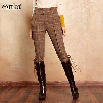 "Artka ""The British Are Coming"" Classic Calf-Length Knight Breeches Plaid Pants"