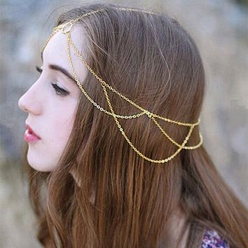 TS1005 Hair Accessories Head Chain Boho Beach Jewelry Headband Tassel Fashion