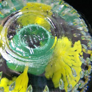 Bill Heinle Blown Glass Paperweight, Controlled Bubbles. Green Yellow Trumpet Flowers, Clear Cased Floral Design 118