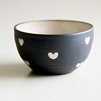 Ceramic Bowl in Black and White Hearts made to order by RossLab