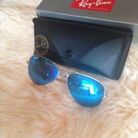 Cheap Ray Ban Aviator Sunglasses Mirrored Blue - polarized- Brand New outlet