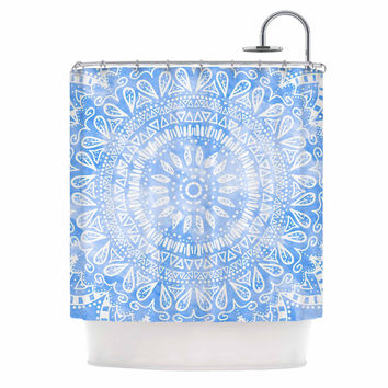 "Nika Martinez ""Boho Flower Mandala in Blue"" Aqua Shower Curtain"