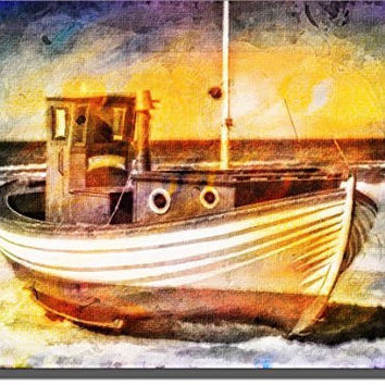 Fishing Boat, Vessel on Sand Picture on Stretched Canvas, Wall Art Decor Sign Ready to Hang!.