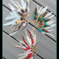 Desert Peacock , Feather Earcuff, gypsy, boho, bohemian, feather, earring, free people, Native american style, Indian feather, jewelry