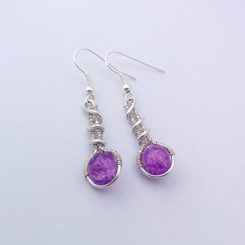 Purple wire wrapped earrings, small purple earrings, crackled glass bead earrings, aluminum wire