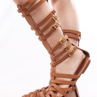TAN FAUX LEATHER GLADIATOR MID-CALF FLAT SANDALS