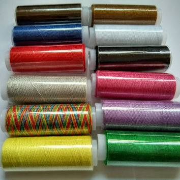 Hot 12 Spools Multicolors Polyester Sewing Threads Spools Cones Set For Sewing Supplies Hand Machines DIYZ519