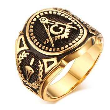 Vintage Men Masonic Rings Quality Stainless Steel Jewelry Wedding Band for Men Retro Gold Color Titanium Punk Rings