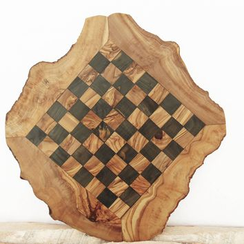 Rustic Olive Wood Chess Board, Custom Engraved Monogrammed Wooden Chess Set Game
