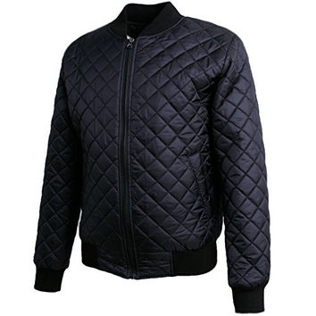 Men's Premium Quilted Lightweight Classic Basic Style Zip Up Bomber Jacket