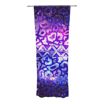 "Ebi Emporium ""Tribal Leopard Galaxy"" Purple Blue Painting Decorative Sheer Curtain"
