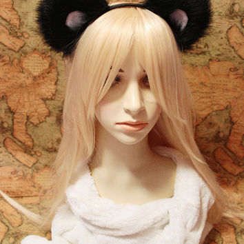 Bear Ears Headband, Panda ears, Black inner white bear ears for girls n adult Costume Cosplay Party