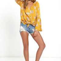 Billabong Forget Me Knot Golden Yellow Floral Print Top
