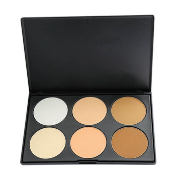 2015 Professional Women Makeup Face Pressed Powder Foundation 6 Colors Grooming Highlight And Contour Shadow Powder Palette
