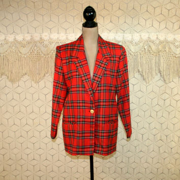 Petite Plaid Jacket Red Tartan Blazer Oversized Boxy Hipster Rayon Medium Large Womens Jackets Womens Blazers 80s 1980s Vintage Clothing