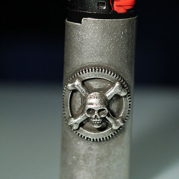 Silver skull and cross bones Lighter Cover by billyblue22 on Etsy