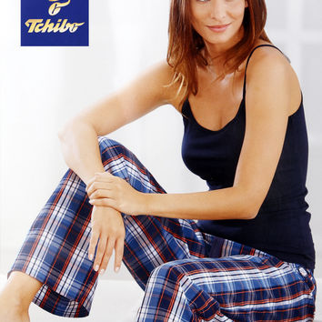 Pure cotton women's pyjamas Leisure female trousers that occupy the home grid printed stripe pajama pants with elastic pants