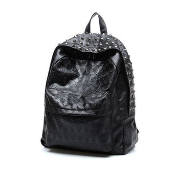 Fashion Cool Skull Head Rivet Unisex Student Bag PU Leather Travel Casual Backpack
