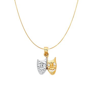 Comedy and Tragedy Masks Theater Pendant - 14K Solid Yellow Gold