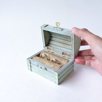 Ready to Ship Blue Treasure Chest Ring Bearer - Beach Wedding Ring Box - Rustic Ring Bearer Box - Treasure Chest Ring Box - Wedding Ring Box
