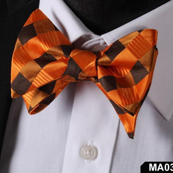 MA03 ORANGE, BROWN100%Silk Striped Bow Ties Men SELF Tie Classic Wedding Butterf