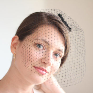 Birdcage Veil - Black Bridal Veil - Bridal Blusher Veil Russian Netting - Wedding Veil - Wedding Modern - Bridesmaids Gift - Black Blusher