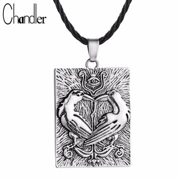Chandler Valknut Norse Vikings Odin's Symbol Huginn Munin Ravens Eye Pendant Necklace Double Bird Square Charm Rope Chain Colier