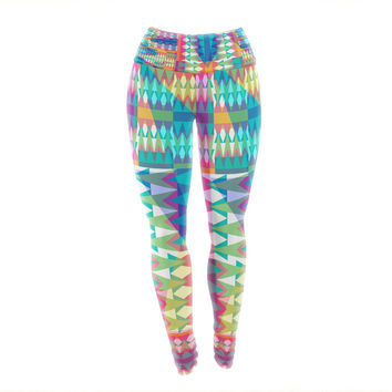"Miranda Mol ""Triangle Quilt"" Multicolor Geometric Yoga Leggings"