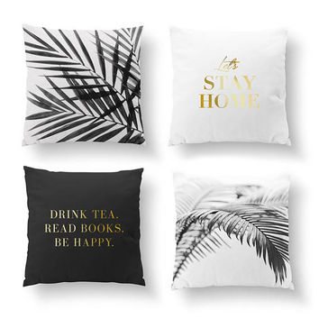 SET of 4 Pillows, Let's Stay Home Pillow, Palm Leaves Pillow, Minimal Art, Boho Decor, Gold Pillow, Bed Pillow, Throw Pillow, Cushion Cover