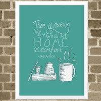 5x7 Jane Austen Quote Print - Home Word Art - Coffee Mug and Book Modern Illustration - Turquoise Book Lovers Print