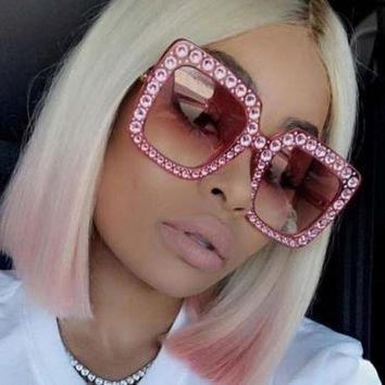 Retro Diamante Decorative Sunglasses