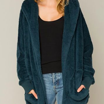 Touch Me Teal Hooded Teddy Jacket (Back In Stock)