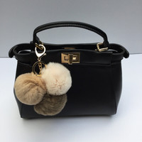 Trio rabbit fur pom pom corsage Bag Charm Totem Beige-Cream-Brown