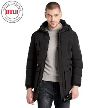 HTLB Men's Extreme Cold Winter Long Hooded Bio Down Jackets Parkas Men Casual Thermal Thick Solid Outwear Parkas Coats Male
