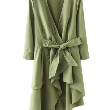 'Grace' Olive Ruffle Wrap Tied Dress