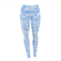 "Nika Martinez ""Boho Flower Mandala in Blue"" Aqua Yoga Leggings"