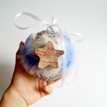 White and blue feather christmas tree ornament cotton cord coconut stars decoration natural rustic decor satin ribbon