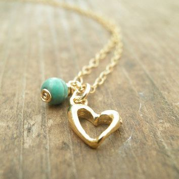 Mothers Day Sale, Heart Jewelry Gold Heart Necklace, Turquoise Gold  Heart Necklace, 14k Gold Filled Girls Gift For Her